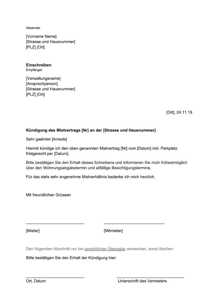 Kündigung Mietvertrag Vorlage