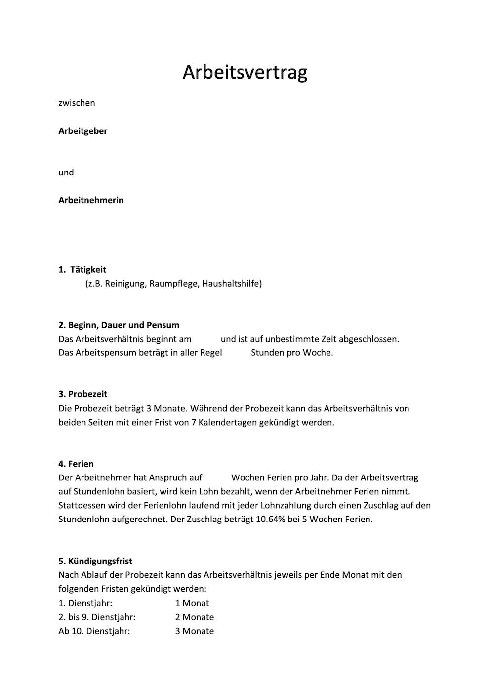 Arbeitsvertrage Muster Vorlagen Kostenlos 6
