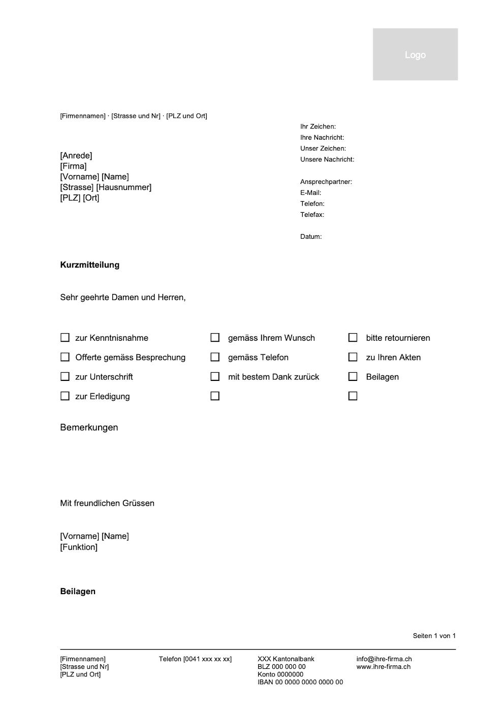 Kurzbrief Vorlage Vorlagen Word Vorlagen Brief 9