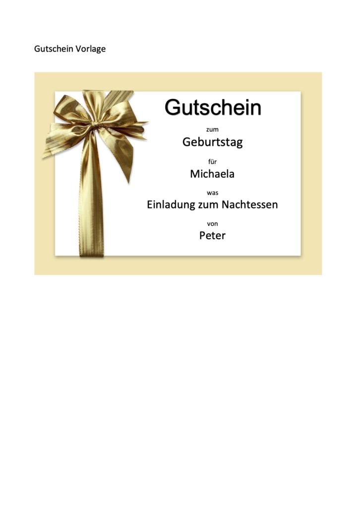Vorlage Gutschein Word