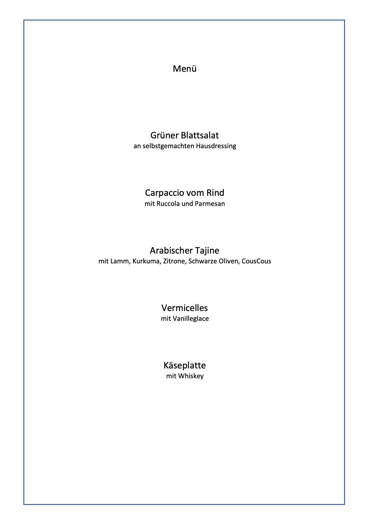 Kostenlos speisekarte muster Sampler Speisekarte