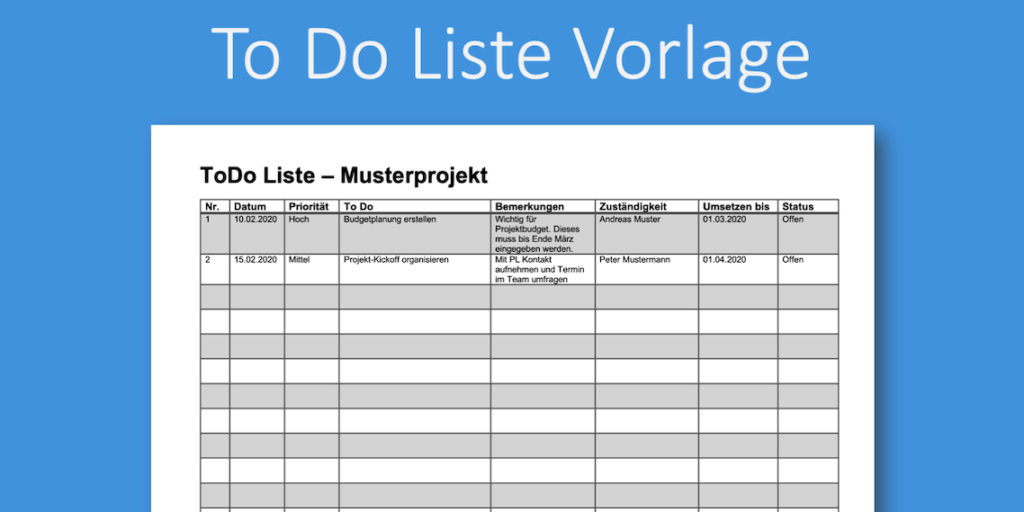 To Do Liste Als Pdf Vorlage Zum Gratis Download