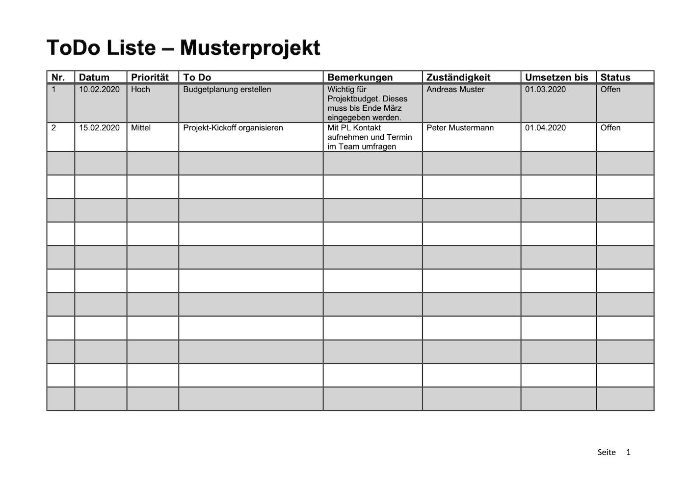 To Do Liste Vorlage Word Excel Kostenlos Downloaden 0
