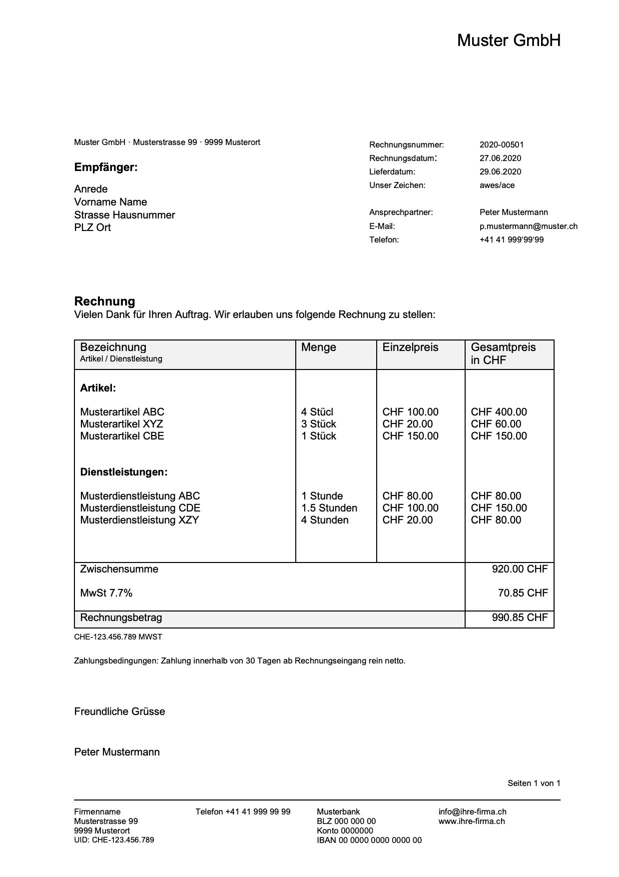 Rechnungsvorlage Im Word Excel Format Gratis Download