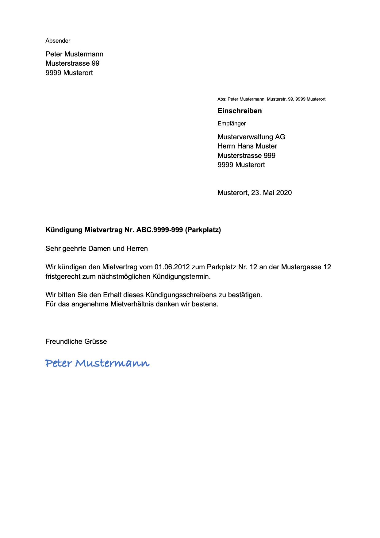 Kündigung Parkplatz Vorlage   gratis Word-Vorlage   Vorla.ch