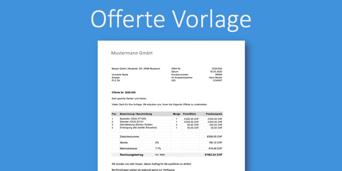 Offerten Vorlage Gratis Word Excel Vorlagen Vorla Ch