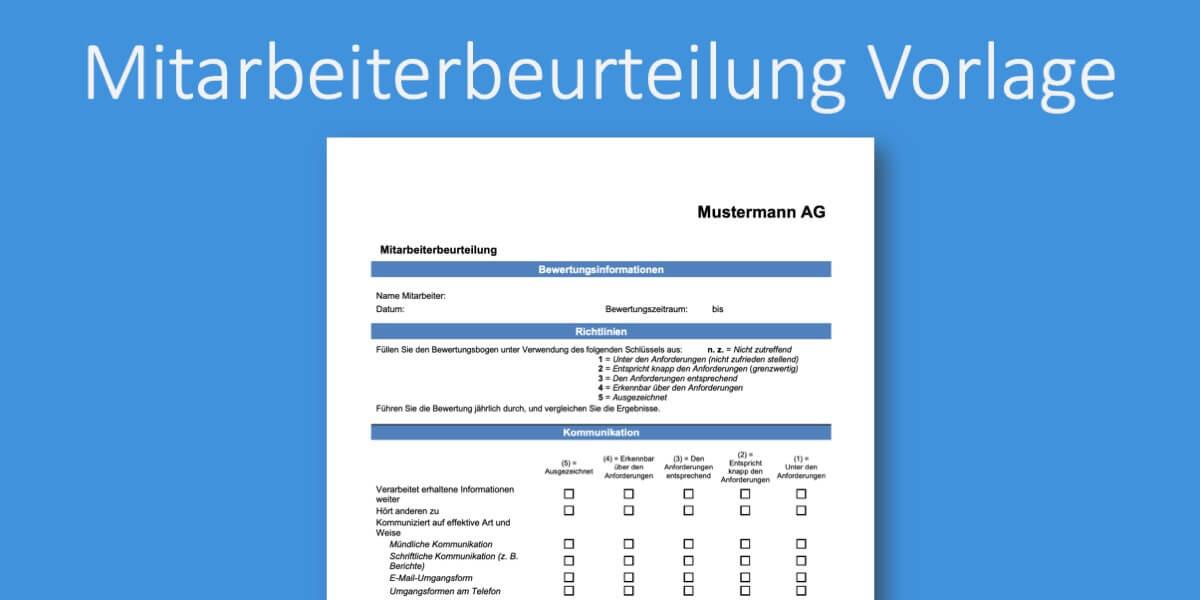Mitarbeiterbeurteilung Muster Vorlage Zum Download 11