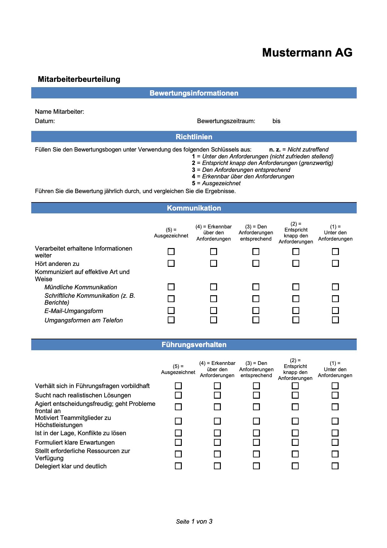 Mitarbeiterbeurteilung Arbeitshilfen Leitfaden