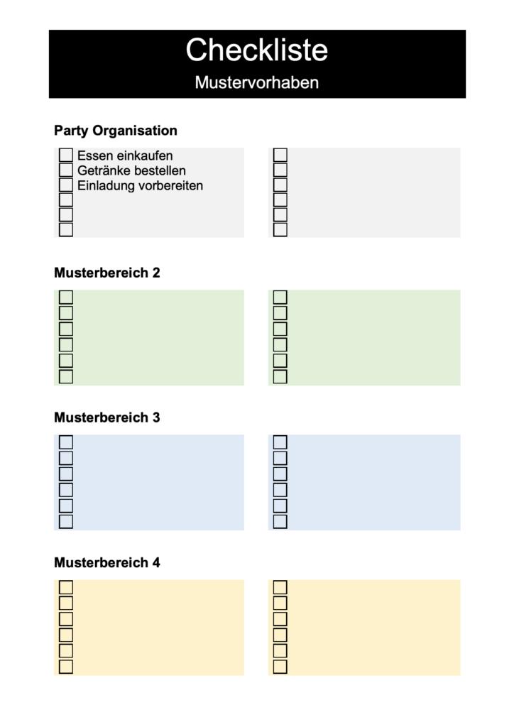 Checkliste Vorlage Checklisten Vorlage Inhaltsverzeichnis