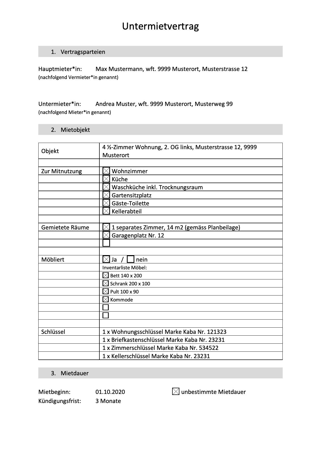 Untermietvertrag Muster Vorlage Pdf Download 14