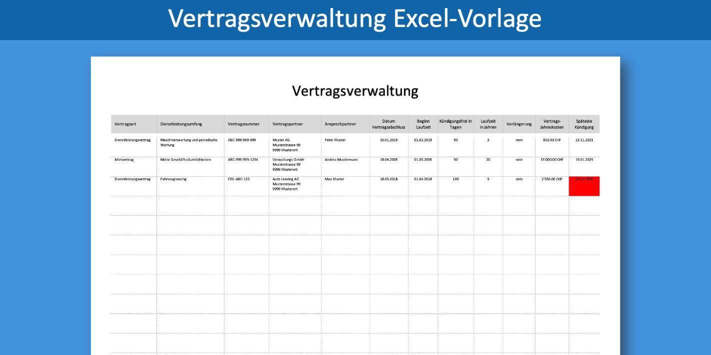 Vertragsverwaltung Excel Vorlage Gratis Vertragsmanagement