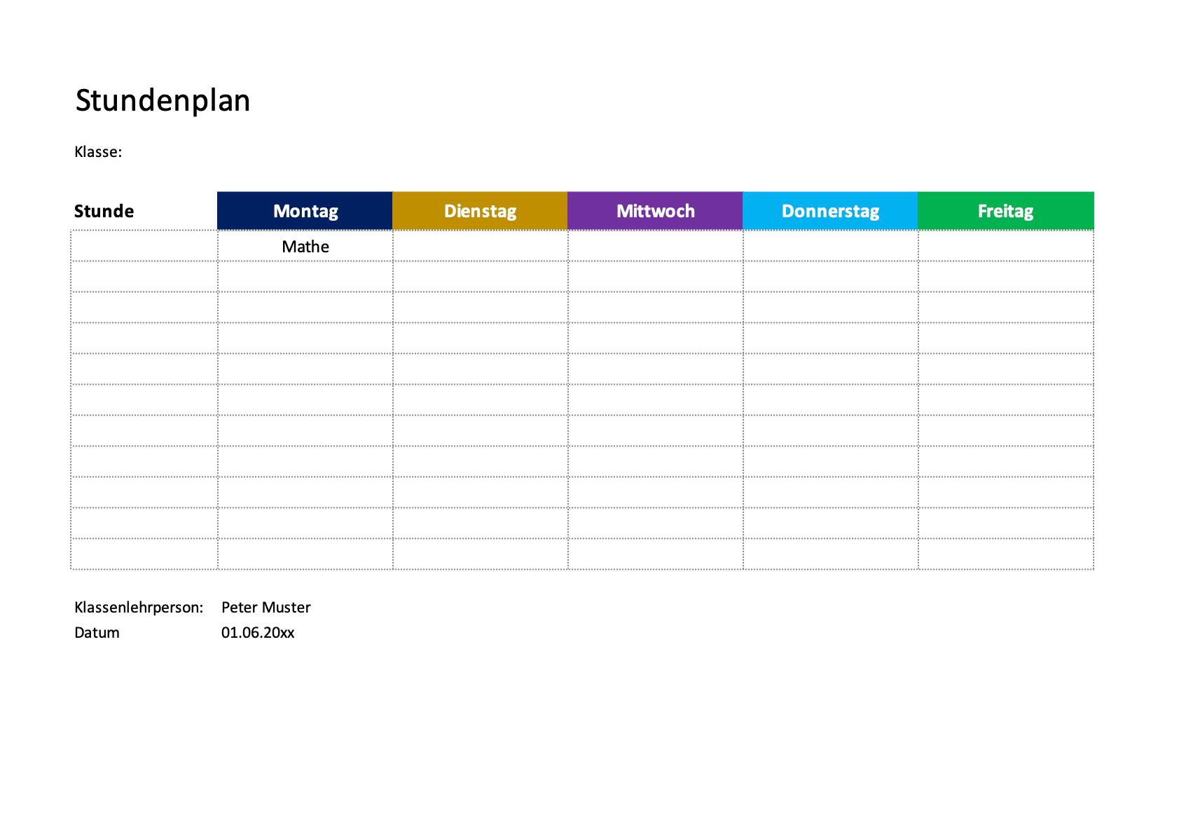 Stundenplan Vorlagen Excel Zum Download Ausdrucken